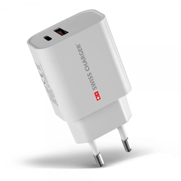 Swiss Charger SCH-40029 18W USB Type-C Hızlı Şarj Adaptörü Duvar Tipi Şarj Aletleri