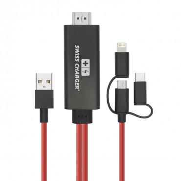 Swiss Charger SCV-30053 Görüntü Yansıtma Cihazı Ses ve Görüntü Kabloları