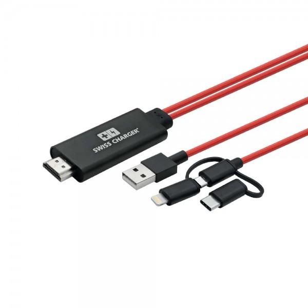 Swiss Charger SCV-30043 Görüntü Yansıtma Cihazı Ses ve Görüntü Kabloları